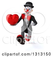 3d White And Black Clown Sprinting And Holding A Love Heart