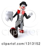 3d White And Black Clown Speed Walking Waving And Holding A Tooth