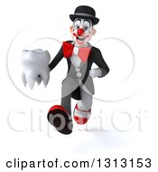 3d White And Black Clown Sprinting And Holding A Tooth