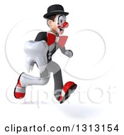 3d White And Black Clown Sprinting To The Right And Holding A Tooth