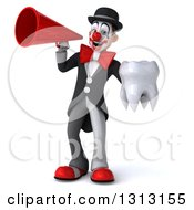 3d White And Black Clown Holding A Tooth And Announcing With A Megaphone