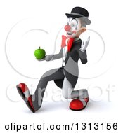 3d White And Black Clown Walking To The Left Waving And Holding A Green Apple
