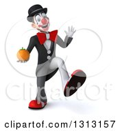 3d White And Black Clown Dancing And Holding A Navel Orange