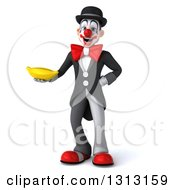 3d White And Black Clown Holding A Banana
