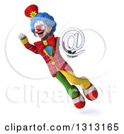 Clipart Of A 3d Colorful Clown Flying And Holding An Email Arobase At Symbol Royalty Free Illustration
