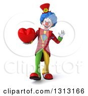 Clipart Of A 3d Colorful Clown Walking Waving And Holding A Love Heart Royalty Free Illustration