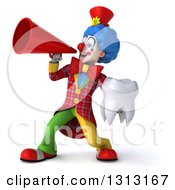 Clipart Of A 3d Colorful Clown Holding A Tooth And Announcing To The Left With A Megaphone Royalty Free Illustration