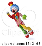 Clipart Of A 3d Colorful Clown Flying And Holding A Green Bell Pepper Royalty Free Illustration