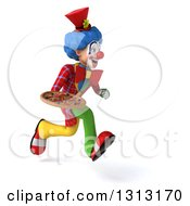 Clipart Of A 3d Colorful Clown Sprinting To The Right And Holding A Pizza Royalty Free Illustration