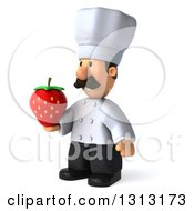 Clipart Of A 3d Short White Male Chef With A Mustache Facing Slightly Left And Holding A Strawberry Royalty Free Illustration