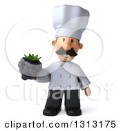Clipart Of A 3d Short White Male Chef With A Mustache Holding A Blackberry Royalty Free Illustration