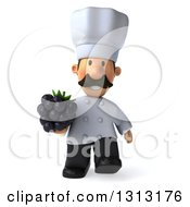 Clipart Of A 3d Short White Male Chef With A Mustache Walking And Holding A Blackberry Royalty Free Illustration