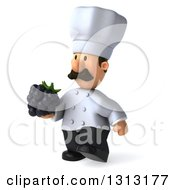 Clipart Of A 3d Short White Male Chef With A Mustache Walking Slightly To The Left And Holding A Blackberry Royalty Free Illustration