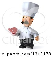 Clipart Of A 3d Short White Male Chef With A Mustache Walking Slightly Left And Holding A Beef Steak Royalty Free Illustration
