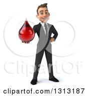 Clipart Of A 3d Full Length Happy Young White Businessman Holding A Blood Drop Royalty Free Illustration