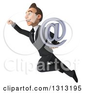 Clipart Of A 3d Happy Young White Businessman Flying Up To The Left And Holding An Email Arobase At Symbol Royalty Free Illustration