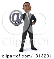 Clipart Of A 3d Happy Young Black Businessman Holding An Email Arobase At Symbol Royalty Free Illustration