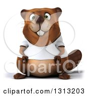 Clipart Of A 3d Happy Casual Beaver Wearing A T Shirt Royalty Free Illustration