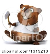 Clipart Of A 3d Happy Casual Beaver Wearing A T Shirt And Walking With An Axe Royalty Free Illustration