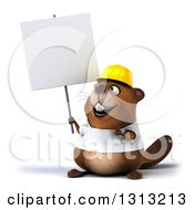 Clipart Of A 3d Construction Beaver Wearing A T Shirt And Hardhat Holding And Pointing To A Blank Sign Royalty Free Illustration by Julos