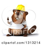 Clipart Of A 3d Construction Beaver Wearing A T Shirt And Hardhat Holding Up A Finger Royalty Free Illustration by Julos