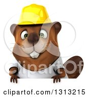Clipart Of A 3d Construction Beaver Wearing A T Shirt And Hardhat Over A Sign Royalty Free Illustration by Julos