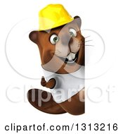 Clipart Of A 3d Construction Beaver Wearing A T Shirt And Hardhat Giving A Thumb Up Around A Sign Royalty Free Illustration by Julos
