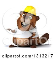 Clipart Of A 3d Construction Beaver Wearing A T Shirt And Hardhat Pointing To The Left Royalty Free Illustration by Julos