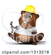 Clipart Of A 3d Construction Beaver Wearing A T Shirt And Hardhat Walking With A Wrench Royalty Free Illustration by Julos