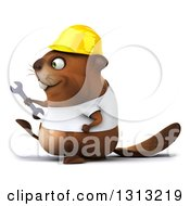 Clipart Of A 3d Construction Beaver Wearing A T Shirt And Hardhat Walking To The Left With A Wrench Royalty Free Illustration by Julos