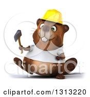 Clipart Of A 3d Construction Beaver Wearing A T Shirt And Hardhat Walking And Holding An Axe Royalty Free Illustration by Julos