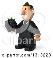 Clipart Of A 3D Happy Short White Businessman Facing Slightly Left And Holding A Blackberry Royalty Free Illustration