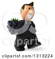 Clipart Of A 3D Happy Short White Businessman Walking Slightly Right And Holding A Blackberry Royalty Free Illustration