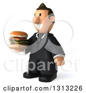 Clipart Of A 3D Happy Short White Businessman Facing Slightly Left Holding A Double Cheeseburger Royalty Free Illustration