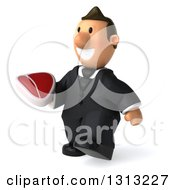 Clipart Of A 3D Happy Short White Businessman Walking Slightly Left And Holding A Beef Steak Royalty Free Illustration
