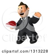 Clipart Of A 3D Happy Short White Businessman Jumping Facing Slightly Left And Holding A Beef Steak Royalty Free Illustration