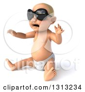 Clipart Of A 3d Happy White Baby Boy Wearing Sunglasses Sitting And Facing Left Royalty Free Illustration by Julos