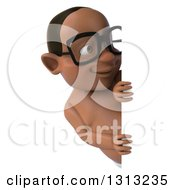 Clipart Of A 3d Bespectacled Black Baby Boy Looking Around A Sign Royalty Free Illustration