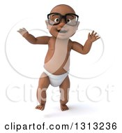 Clipart Of A 3d Bespectacled Black Baby Boy Walking Royalty Free Illustration