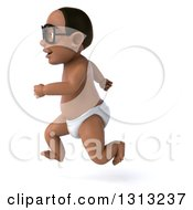 Clipart Of A 3d Bespectacled Black Baby Boy Sprinting To The Left Royalty Free Illustration