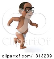 Clipart Of A 3d Bespectacled Black Baby Boy Sprinting Slightly To The Right Royalty Free Illustration