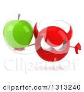 Clipart Of A 3d Red Devil Head Holding A Green Apple And Thumb Down Royalty Free Illustration