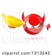Clipart Of A 3d Red Devil Head Holding A Banana And Thumb Down Royalty Free Illustration