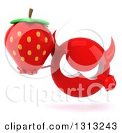 Clipart Of A 3d Red Devil Head Holding And Pointing To A Strawberry Royalty Free Illustration