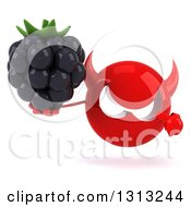 Clipart Of A 3d Red Devil Head Holding And Pointing To A Blackberry Royalty Free Illustration