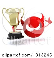 Clipart Of A 3d Red Devil Head Holding Up A Finger And A Trophy Royalty Free Illustration