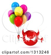 Clipart Of A 3d Red Devil Head Holding A Thumb Down And Party Balloons Royalty Free Illustration