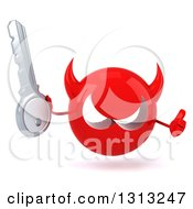Clipart Of A 3d Red Devil Head Giving A Thumb Up And Holding A Key Royalty Free Illustration