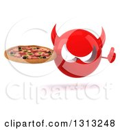 Clipart Of A 3d Red Devil Head Giving A Thumb Up And Holding A Pizza Royalty Free Illustration