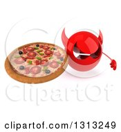 Clipart Of A 3d Red Devil Head Holding Up A Pizza Royalty Free Illustration